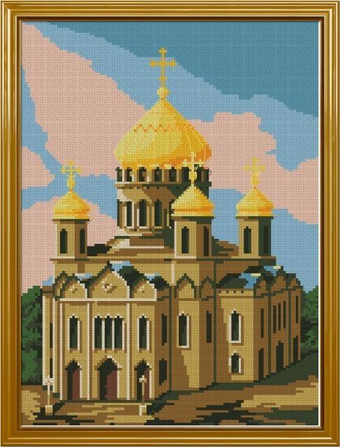 Схема вышивания крестом - Храм